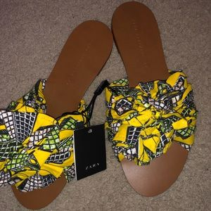 ZARA Tribal Fabric Slides